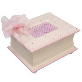 Memory Handpainted Keepsake Box in Pink with Bling