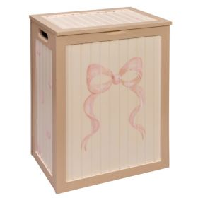 Beige with Pink Bows Handpainted Hamper
