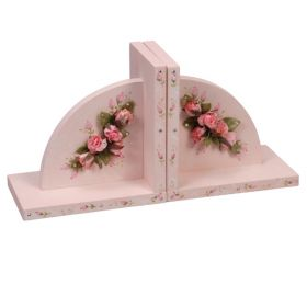 Pink Sponged Hand Painted Bookends with Flowers