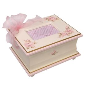 Memory Handpainted Keepsake Box in Pink with Rosebuds and Pink & Gold Trim