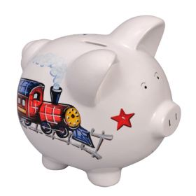 Train Handpainted Piggy Bank