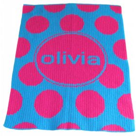 Modern Polka Dot Stroller Blanket with Name