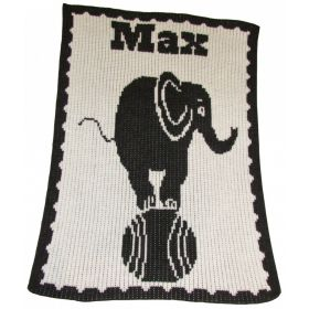 Elephant on Ball Stroller Blanket with Name
