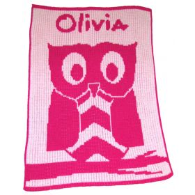 Owl Stroller Blanket with Name