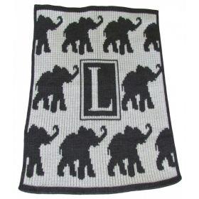 Walking Elephants Stroller Blanket with Initial