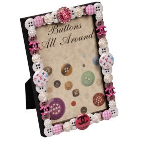 Designer Pink Buttons All Around Vertcial Picture Frame