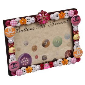 Designer Pink Buttons All Around Horizontal Picture Frame