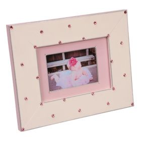 Hand Painted Picture Frame in Pink with Pink Swarovski Crystals