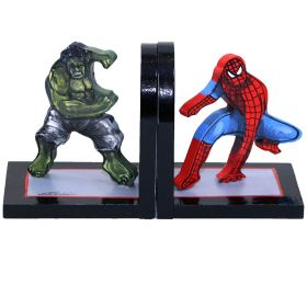 Hulk and Spiderman Handpainted Bookends