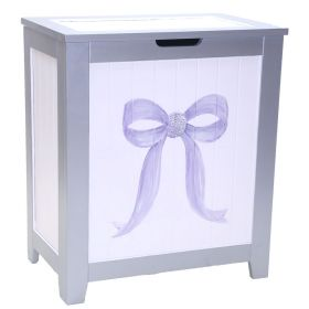 Purple Bow Handpainted Hamper with Bling