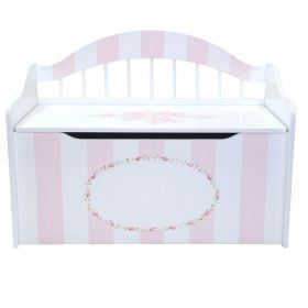 Hand Painted Toy Chest with Pink Flowers and Stripes