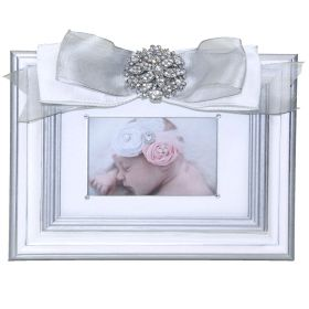 Silver and White Handpainted Picture Frame with Silver Ribbon and Crystal Brouch