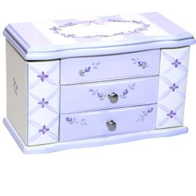 3 Draw Jewelry Box Hand Painted in Lavender with Flowers & Bling