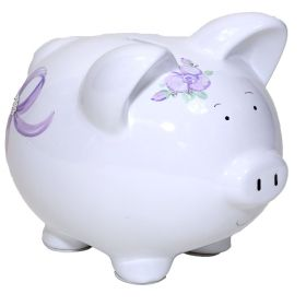 Lavender Handpainted Piggy Bank with Bows and Flowers with Bling