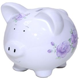 Lavender Handpainted Piggy Bank with Flowers and Bling