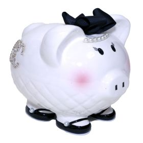 Designer Handpainted Piggy Bank with Crystal Initial and Black Bow with Pearls