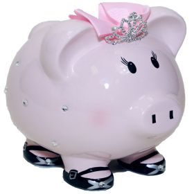 Designer Handpainted Piggy Bank with Tiara and Pink Bow