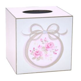 Pink Flowered Tissue Box Handpainted with Bows and Trimmed with Sliver