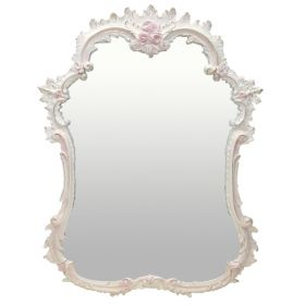 French Flat Wall Mirror Hand Painted with Pink Accents and Bling