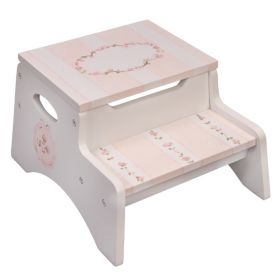 White Storage Floral Handpainted Step Stool