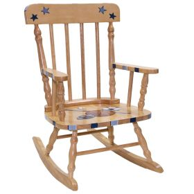Natural Sports Spindle Handpainted Wooden Rocking Chair
