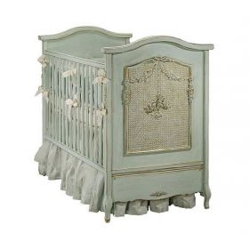 Cherubini Crib in Versailles Blue with Caning