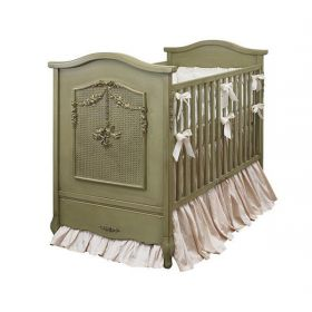 Cherubini Crib in Versailles Green with Caning