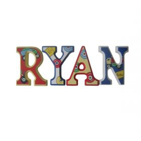 Ryan Construction Blocks Hand Painted Wooden Wall Letters