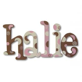 Halie Chocolate Strawberry Torte Hand Painted Wooden Wall Letters