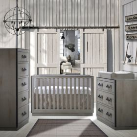 Valencia 3 Piece Nursery Set Crib, 5 Drawer Dresser and Double Dresser in Grey Chalet
