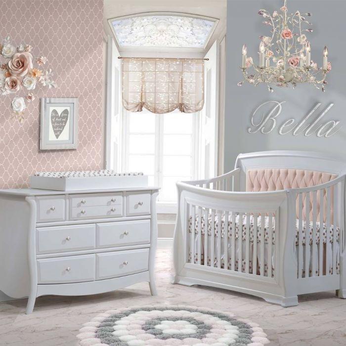 Bella 2 Piece Nursery Set In Pure White Crib And Double Dresser