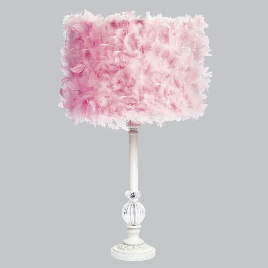 White Large Glass Ball Table Lamp With Pink Feather Dru